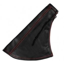 Cuffia in pelle leva freno a mano nera - Rosso