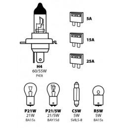 Kit lampade di ricambio 8 pz  alogena H4 - 12V