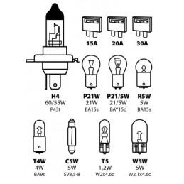 Kit lampade di ricambio 11 pz  alogena H4 - 12V