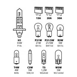 Kit lampade di ricambio 11 pz  alogena H1 - 12V