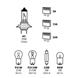 Kit lampade di ricambio 8 pz  alogena H7 - 12V