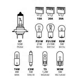 Kit lampade di ricambio 11 pz  alogena H7 - 12V