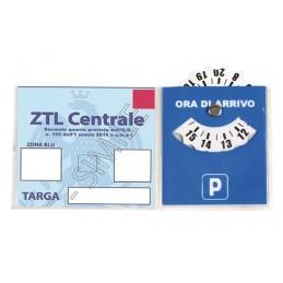 Porta certificato con disco orario in PVC