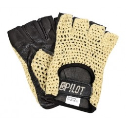Pilot-1  guanti guida mezze dita - M - Nero