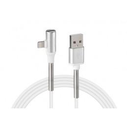 Cavo 90 gradi  Usb   Apple 8 Pin + adattatore auricolari - 100 cm - Bianco