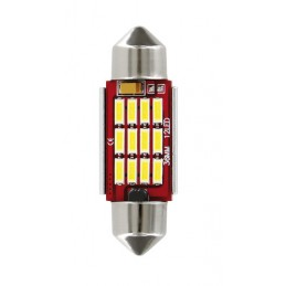10-30V Mega-Led 12 - 12 SMD x 1 chip - (C5W) - 12x36 mm - SV8 5-8 - 1 pz  - D Blister - Bianco - Doppia polarità - Resistenza in