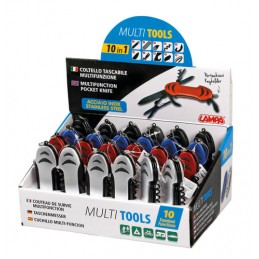Multi Tools  coltelli multifunzione tascabili 10 in 1  espositore  24 pz