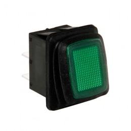 Interruttore impermeabile con spia a Led - 12 24V - Verde