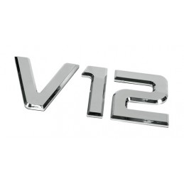 Emblemi motore 3D cromati - 92x210 mm - V12