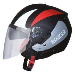 CASCO SPARCO RIDERS SP503 NERO/ ROSSO OPACO-XS